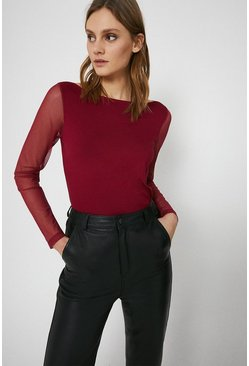 Red Slash Neck Sleeve Top