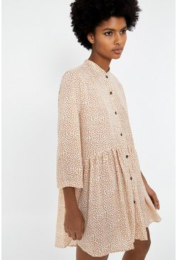 Beige Spot Trapeze Dress