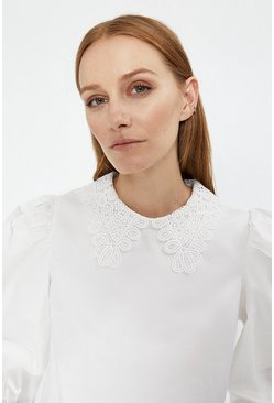 White Lace Collar Puff Sleeve Shirt