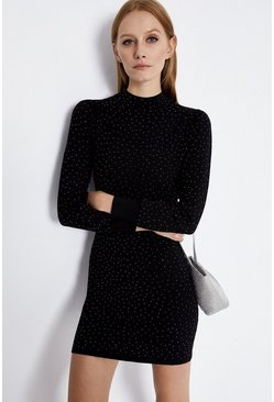 Black Sparkle Knitted Dress