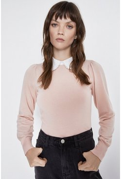 Pink Lace Collar Jumper