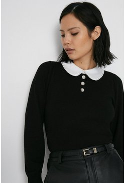 Black Collar And Pearl Button Jumper