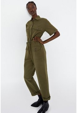 Khaki Button Detail Utility Jumpsuit