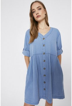 Light wash Denim Smock Dress