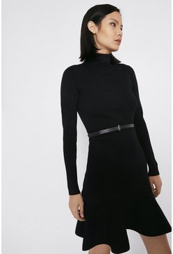 Black Knitted Roll Neck Belted Flippy Hem Dress