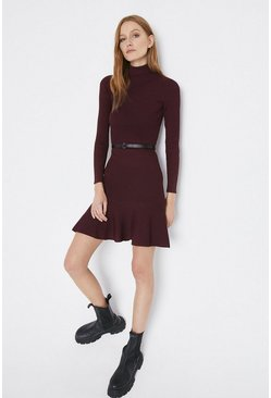 Fig Knitted Roll Neck Belted Flippy Hem Dress