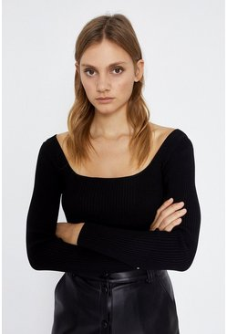 Black Knitted Rib Square Neck Top Long Sleeve