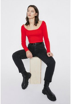 Red Knitted Rib Square Neck Top Long Sleeve
