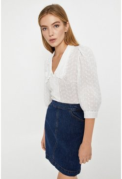 White Puff Sleeve Blouse With Frill Edge Collar