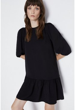 Black Puff Sleeve Peplum Hem Mini Dress