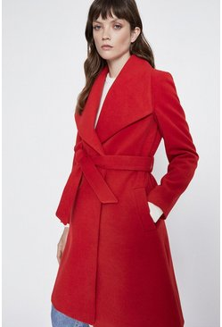 Red Belted Wrap Coat