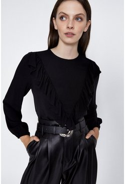 Black Frill Front Detail Top