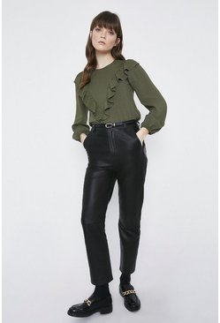 Olive Frill Front Detail Top