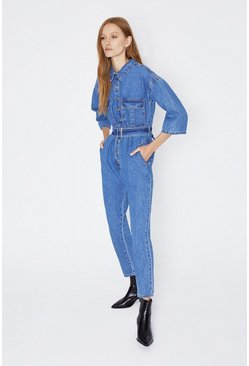 Mid wash Utility Denim Jumpsuit