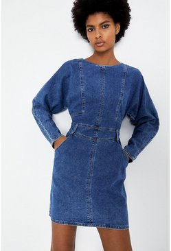 Mid wash Denim Batwing Seamed Dress
