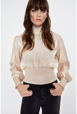Champagne Smock Detail High Neck Top