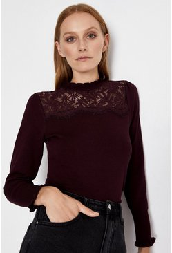 Berry Lace High Neck Jumper