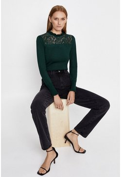 Green Lace High Neck Jumper