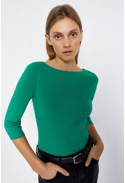 Green Slash Neck 3/4 Sleeve Basic Top