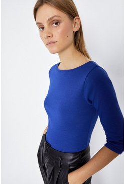 Mid blue Slash Neck 3/4 Sleeve Basic Top