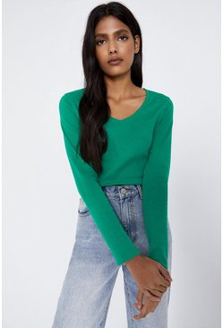 Green Long Sleeve V Neck Basic Top