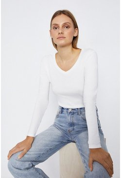 Ivory Long Sleeve V Neck Basic Top