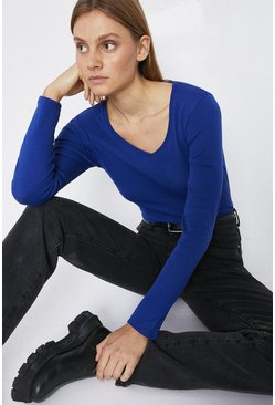 Mid blue Long Sleeve V Neck Basic Top