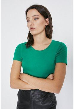 Green Crew Neck Short Sleeve Basic Top