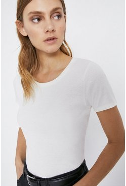 Ivory Crew Neck Short Sleeve Basic Top