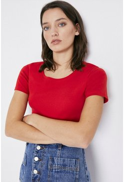 Rust Crew Neck Short Sleeve Basic Top