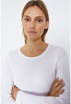 Ivory Crew Neck Long Sleeve Basic Top