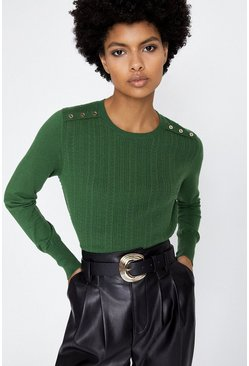 Bright green Bobble Pointelle Jumper
