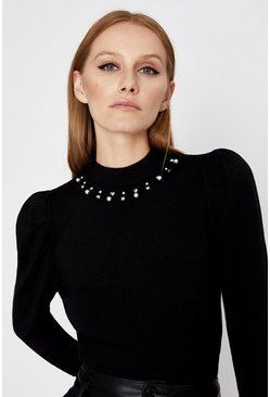 Black Embellished Neckline Jumper