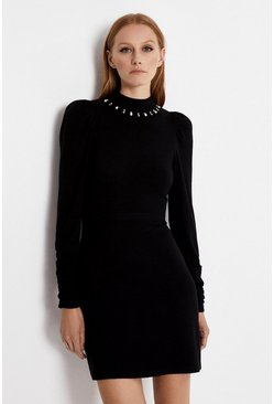 Black Embellished Neckline Dress
