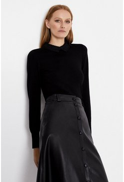 Black Lace Collar Jumper