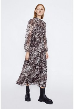 Leopard Tiered Chiffon Midi Dress