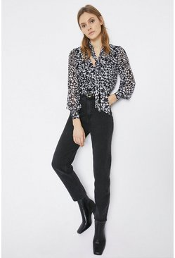 Blackwhite Tie Neck Blouse