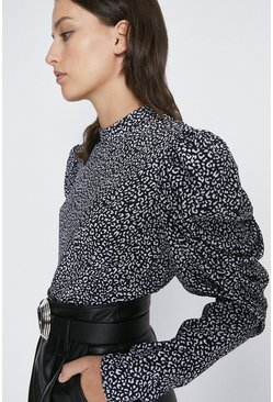 Animal Puff Sleeve High Neck Top