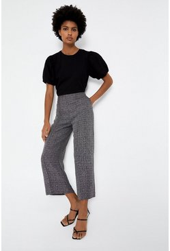 Grey Textured Wide Crop Trouser