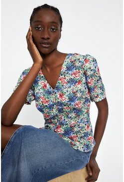 Multi Mini Meadow Button Front Top