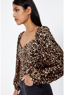 Gold Balloon Sleeve Sequin Top