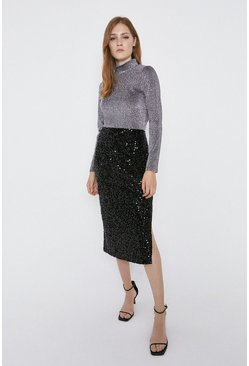 Black Sequin Velvet Midi Skirt