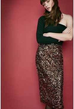 Gold Sequin Velvet Midi Skirt
