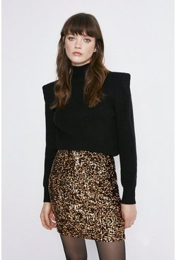Gold Sequin Velvet Short Skirt