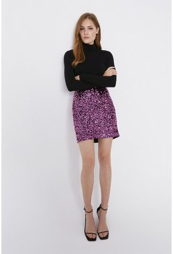 Hot pink Sequin Velvet Short Skirt