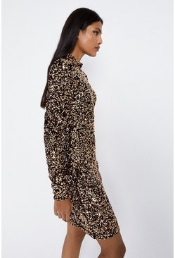 Gold Sequin Funnel Neck Dress