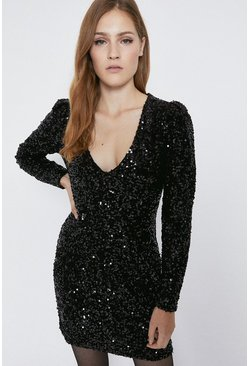 Black Sequin V Neck Short Dress