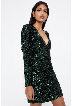 Green Sequin V Neck Short Dress
