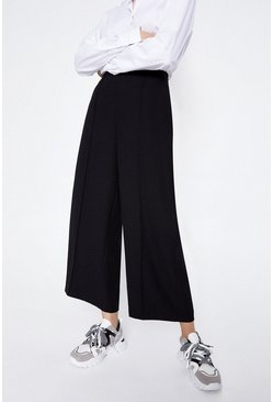 Black Wide Crop Trouser