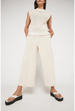 Cream Wide Crop Trouser